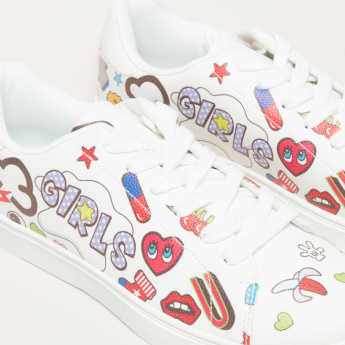 Printed Sneakers with Lace-Up Closure