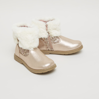 Lee Cooper Glitter High Top Boots with Plush Cuffs