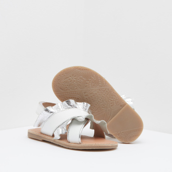 Ruffle Detail Ankle Strap Sandals with Hook and Loop Closure