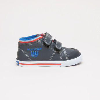 Pablosky High Top Shoes with Hook and Loop Strap and Stitch Detail