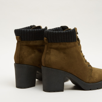 Lace-Up Boots with Block Heels