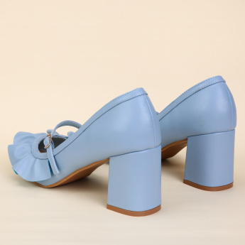 Missy Block Heel Shoes with Buckle Closure and Ruffle Detail
