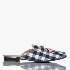 Chequered Open Back Shoes with Embroidery