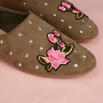 Missy Studded Loafers with Applique Detail