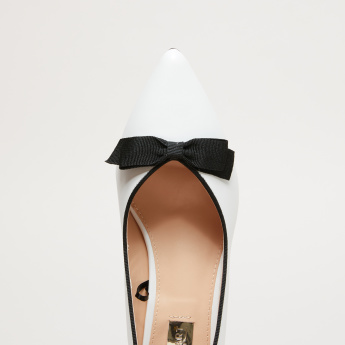 Slip-On Pumps with Kitten Heels and Bow Applique