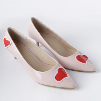 Missy Low Heel Slip-On Shoes with Applique Detail