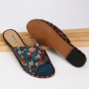 Paprika Printed Cross Strap Slides