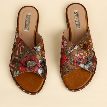 Paprika Embroidered Slip-On Sandals