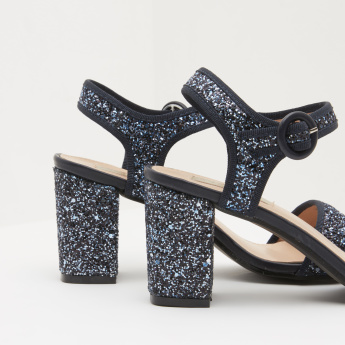 Ankle Strap Block Heels with Buckle Closure