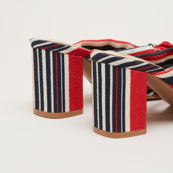 Striped Bow Detail Peep Toe Slides