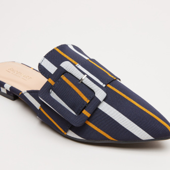 Striped Mules with Buckle Detail