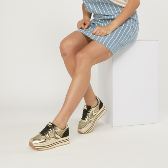 Lee Cooper Lace-Up Metallic Sneakers with Platform Soles