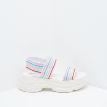Striped Elastic Strap Sandals