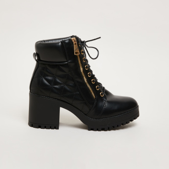Quilted Lace-Up High Top Shoes with Block Heels and Zip Closure