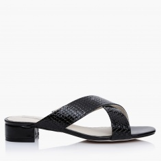 Paprika Cross Strap Slip-On Sandals