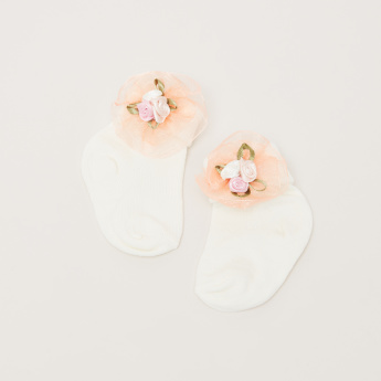 Juniors Ankle Length Socks with Flower Applique