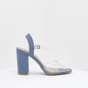 90a2c30ba Peep-Toe Block Heels with Transparent Vamp and Ankle Strap Closure | Blue | Ankle  Strap