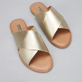 Paprika Studded Cross Strap Slides