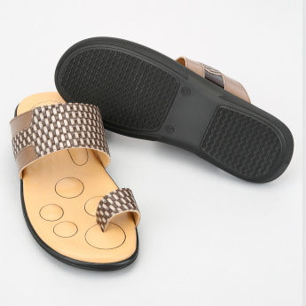Al Waha Textured Arabic Sandals with Toe Strap