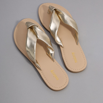 Missy Metallic Flip Flops with Stitch Detail