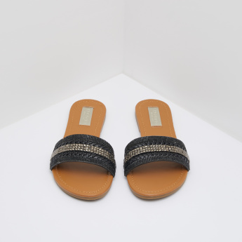 Embellished Slides with Weave Detail
