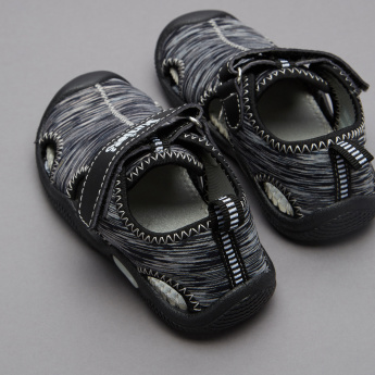 Juniors Striped Sandals with Hook and Loop Closure