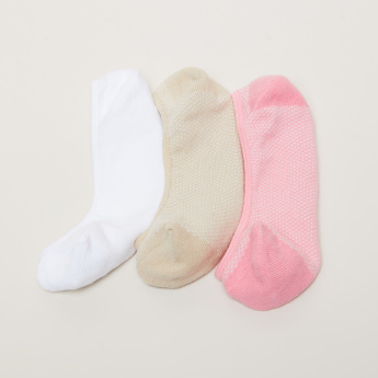 Paprika Textured No Show Socks - Set of 3
