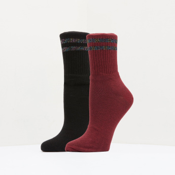 Paprika Textured Crew Length Socks - Set of 2