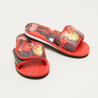Iron Man Printed Slides with Hook and Loop Closure