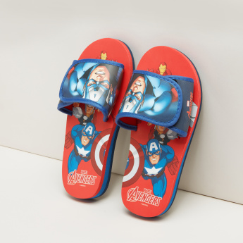a148077d8736 Captain America Printed Slides with Hook and Loop Closure