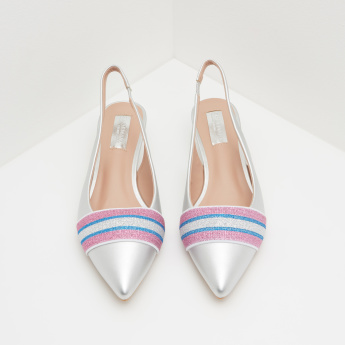 Embellished Slingback Kitten Heeled Shoes