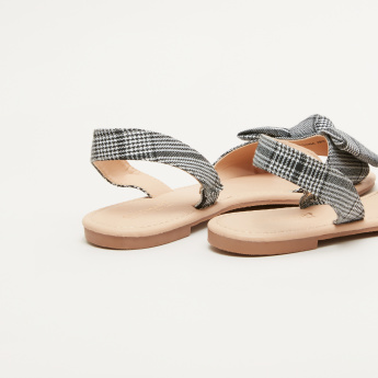 Chequered Sling Back Sandals with Bow Detail