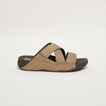 FitFlop Textured Slides with Crossed Straps