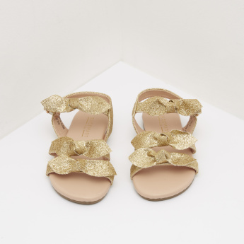 Ankle Strap Sandals with Bow Accent