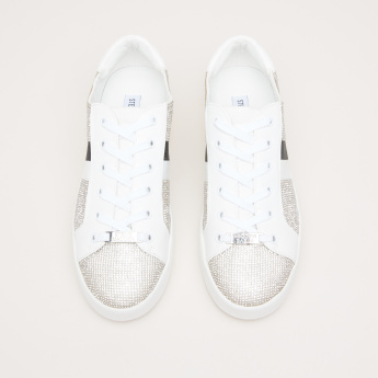 STEVE MADDEN Rhinestones Detail Lace-Up Sneakers