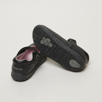 Stride Rite Textured Mary Jane Shoes with Hook and Loop Closure