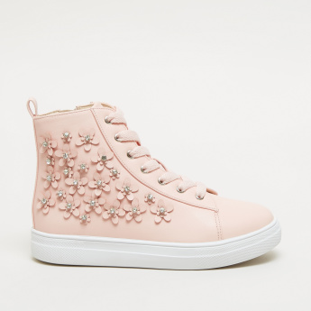 Embellished Applique Detail High Top Shoes