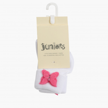 Juniors Ankle Length Socks with Butterfly Applique