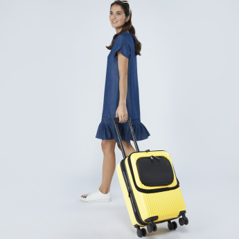 Mia Toro Hard Case Trolley Bag with Front Pocket and Zip Closure