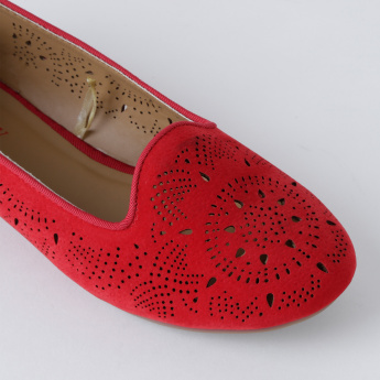 Little Missy Slip-On Shoes with Laser Cut Detail