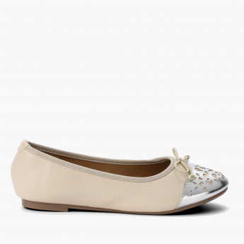 Little Missy Slip-On Ballerina Shoes with Laser Cut Detail