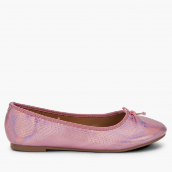 Little Missy Textured Slip-On Shoes with Lace-Up Detail