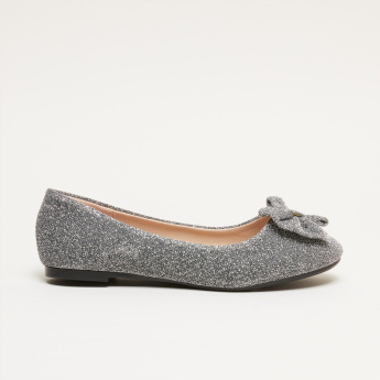 Glitter Slip-On Ballerina Shoes with Bow Detail