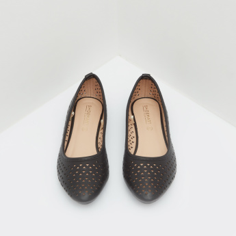Cut Work Ballerina Shoes with Slip-On Closure