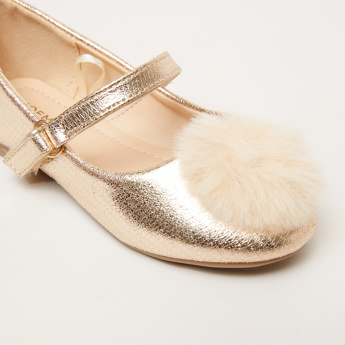 Pom-Pom Detail Mary Jane Shoes with Hook and Loop Closure