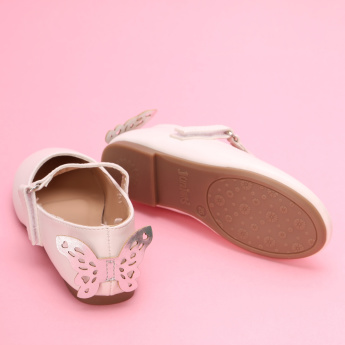 Juniors Butterfly Detail Mary Jane Shoes with Hook and Loop Closure