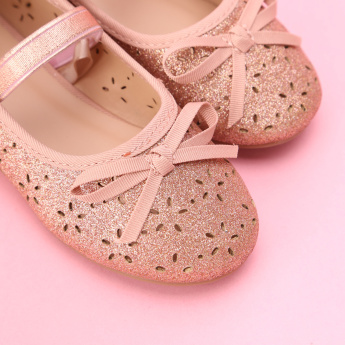 Juniors Laser Cut Detail Shoes with Hook and Loop Closure