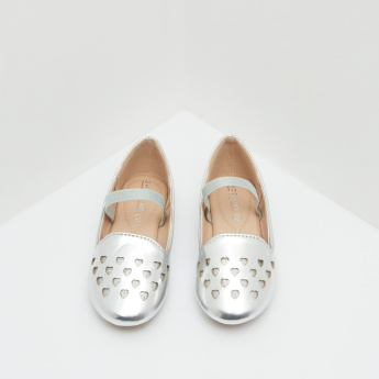 Cut Work Mary Jane Shoes with Elastic Closure and Metallic Finish