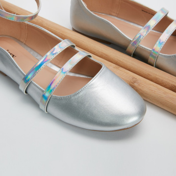 Missy Metallic Strap Shoes with Zip Closure
