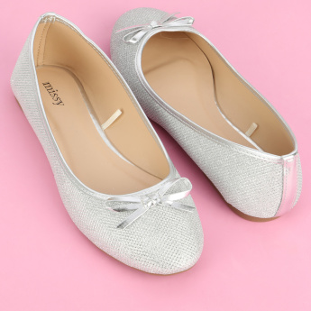 Missy Textured Slip-On Ballerina Shoes with Bow Detail